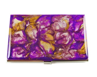 Purple Orchid in Hand Painted Enamel Metal Wallet Personalized and Custom Color Options