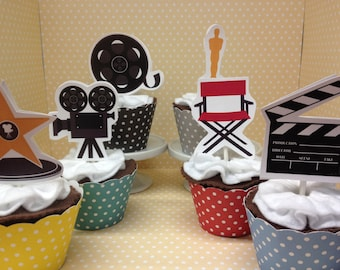 Hollywood, Movie Night, Oscars, Emmy Party Cupcake Topper Decorations - Set of 10