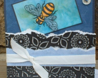 Blank Bee and Button Greeting Card