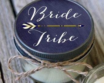 Set of 12 - 4 oz Soy Candles - Chalkboard Bride Tribe Candles//Team Bride Shower Favors//Team Bride Favors//Navy Wedding