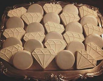 Diamonds and Pearls - Decorated Sugar Cookies - 1 Dozen