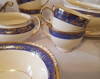 ON SALE, Homer Laughlin, Eggshell Nautilus, Vintage Laughlin, Dinnerware Set, Dinner Set, B45 N5, M41 N5, L41 N5, Laughlin Set, blue plates