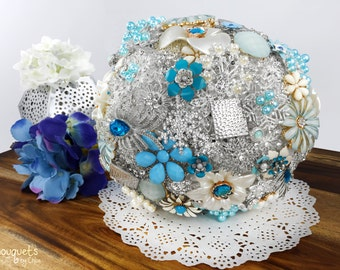 Wedding Brooch Bouquet, Broach Bouquet, Brooch Bouquet, Blue Silver Bouquet, Winter Bouquet, Bridal Bouquet, Something Blue, Button Bouquet