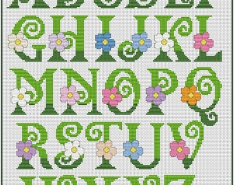 Summer ABC Cross Stitch Pattern Flower Alphabet Cross Stitch Chart PDF Downloadable Cross Stitch Chart Instant Download