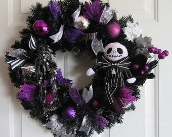Nightmare Before Christmas Black Purple Wreath Jack Skellington