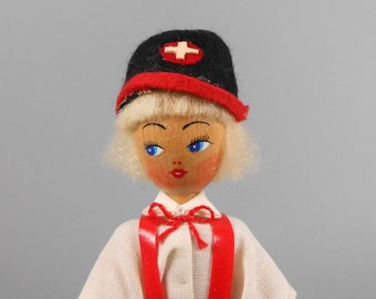 Vintage Polish Wooden Peg Doll in Blouse, Shorts and Hat
