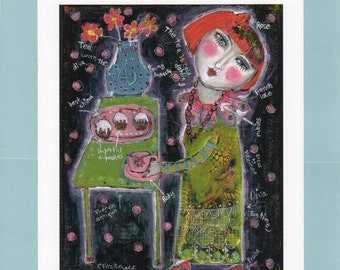 Special Price Free Shipping Mixed Media Painting  Print  outsider Folk woman diva tea cupcakes designer