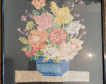 Vintage Bouquet of Flowers Cross Stitch Embroidery in Original Frame 1930's