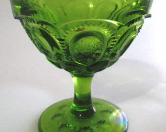 Vintage LE Smith Glass Moon and Stars, Tall Green Sherbet Dessert Glass, Heritage Hand Made by Smith, Footed Champagne Glass, New Old Stock!
