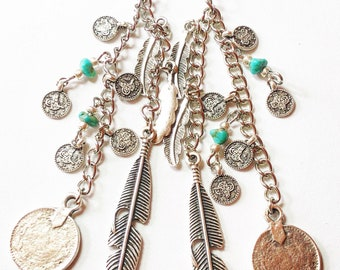 Boho turquoise coins and feathers