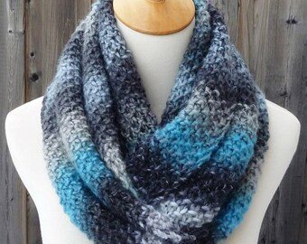 Multicolor Infinity Scarf - Blue, Gray, and Black Infinity Scarf - Wool Infinity Scarf - Chunky Knit Scarf - Ready to Ship