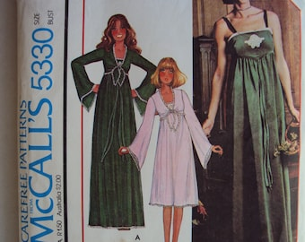 """70's gown or nightie pattern w/ shrug cover-up  McCall's 5330- size 12  bust 34 """" partly cut"""