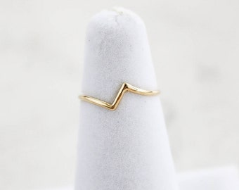 Tirie Midi Ring, V-Shaped Ring, V ring, Z midi ring, V pinky ring, Dainty ring, Staking ring, Thin Ring, Trendy ring, Crystal