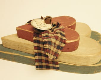 Primitive Americana Chunky Wood Hearts, Patriotic Bowl Fillers, Country Farmhouse Decor
