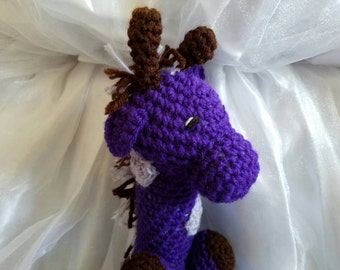 Purple Giraffe, ready to ship, photo prop, baby toy, handmade, crochet giraffe, baby shower, kid birthday present, home decor, amigurumi