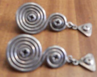 Sterling Silver Swirly Dangle Earrings