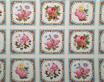 "This Little Pig cotton panel -- approximately 23""x44"""