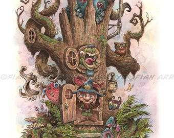 """FANTASY Signed, Titled, Fine Art PRINT-The Far End Of Neverwhere-Lowbrow, CREATURES, Elf, Monsters-11""""x14"""" by Fian Arroyo-Unframed"""