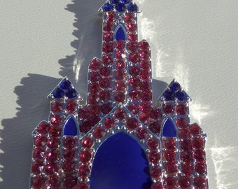 SALE! 54mm*34mm Castle Rhinestone Pendant for Chunky bead  Necklace, Rhinestone Castle Pendant, P63