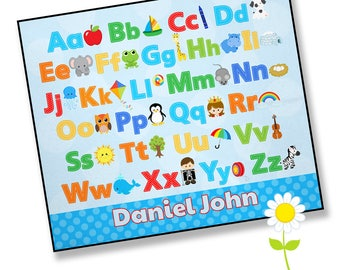 Alphabet Play Mat for Boys - Personalized Playmat with Name - Waterproof Back Play Blanket - Infant Tummy Time Floor Mat - Baby Shower Gift