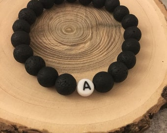 Lava stone bracelet with letter-made of real black lava beads