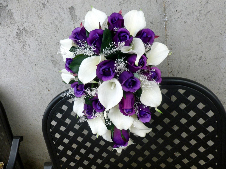 Cascading purple rose white calla lily bridal bouquet with cascading purple rose white calla lily bridal bouquet with babys beath izmirmasajfo Gallery