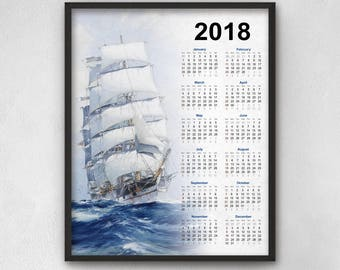 Tall Ship Calendar 2018 - Clipper Ship Art - Ship - Sea - Ocean - Sailing Ship Calendar 2018 - Kitchen Calendar - Blue Decor