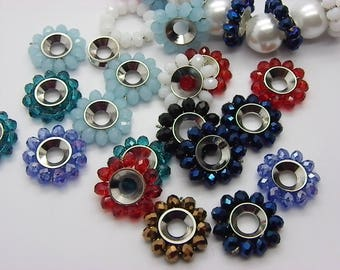10 spacer flowers Crystal faceted 12 mm with a 4 mm hole