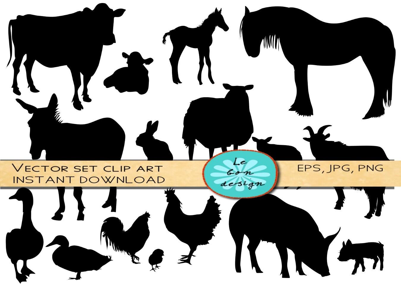 farm animals silhouette clip art vector commercial use rh etsy com wild animal silhouettes clipart animal silhouette clip art free