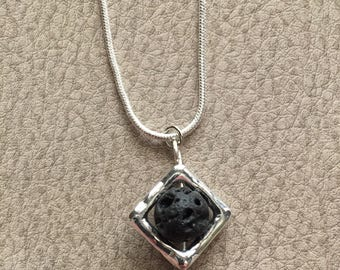 Essential Oil Necklace Black Lava Stone Diffuser Aromatherapy Jewelry Silver Framed Bead Leather Necklace Available Oil Jewelry EO OOLA Oily