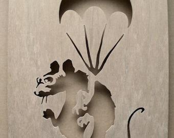Banksy Rat Parachutist Wooden Stencil