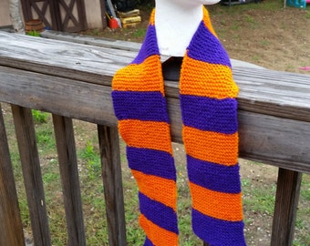 Hand Knitted Orange and Purple Adult Halloween Scarf- Orange and Purple Adult Halloween Scarf- Hand Knitted Adult Scarf- Hand Knitted Scarf