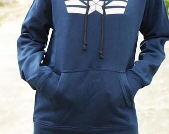 Captain America White star on sweatshirt hoodie long sleeve
