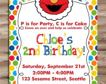 ELMO Invitation Elmo Invitation Elmo Birthday Invite Sesame