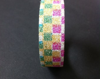 Masking tape, masking tape, multicolored bright square patterned, 5 M x 15 mm
