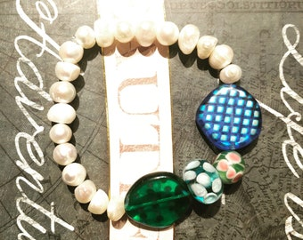 pearls and multi color beads