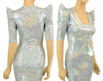 Frostbite Shattered Glass Holographic Sharp Shoulder Half Sleeve Scoop Neck Dress Futuristic Mod Party Dress - 155005