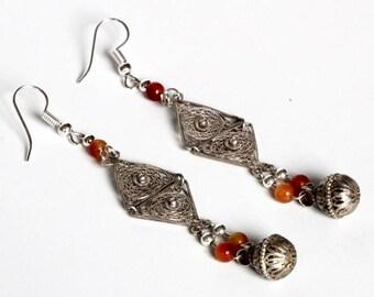 Filigree Drop Earrings,Vintage & Antique Silver parts Carnelian Beads.