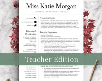 Teacher Resume Template for Word Pages Teacher CV