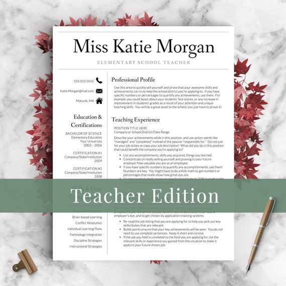 Teacher Resume Template For Word  Pages   And  Page