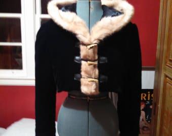 Custom Velvet Jacket with Fur Trim, Custom Jacket, Jacket with fur trim, Hooded jacket