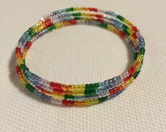 2, 3 or 4 wrap Rainbow Chakra colored seed bead memory bracelet.
