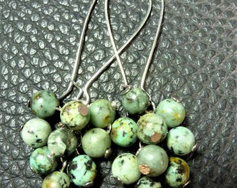 Beautiful Natural Raw Turquoise Cluster Plated Silver Earrings