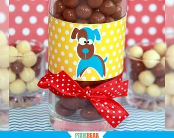 Dog Water Bottle Labels - Puppy Birthday - Puppy Party - Dog Birthday - Dog Party - Printable Bottle Labels - Napkin Wrap (Instant Download)