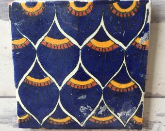 Vintage Mexican Talavera Tile Scraps- Perfect for Mosaic 50+ Pieces Peacock Feather