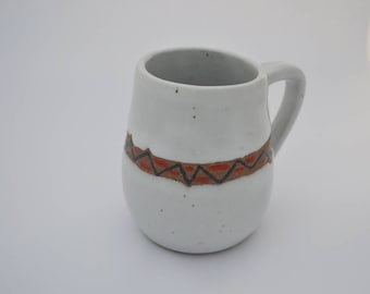 Ceramic Mug - Wheel thrown Handpainted Mug - White Cup - Orange Blue design