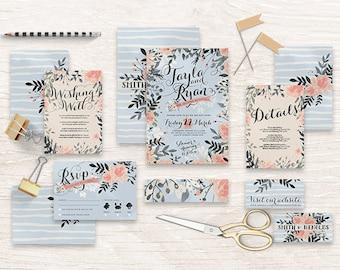 "Printable Wedding Invitation Suite ""Snowfall"" - Printable DIY Invite, Affordable Wedding Invitation"