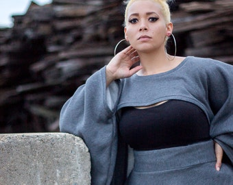 Oversize Sweatshirt Shrug - One Size