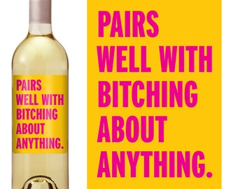 Funny Wine Label - Custom Wine Bottle Labels  - Personalized Wine Label - Funny Gift - Cheer Up Gift