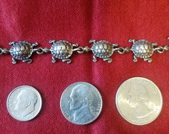 antique sterling silver trutle link bracelet